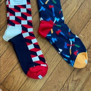 Two pair Happy Socks geometric and axe design 9-11